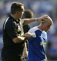 Photo: Aidan Ellis.<br /> Leicester City v Watford. Coca Cola Championship. 25/08/2007.<br /> Leicester's Iain Hume gets a pat on the head of manager Martin Allen