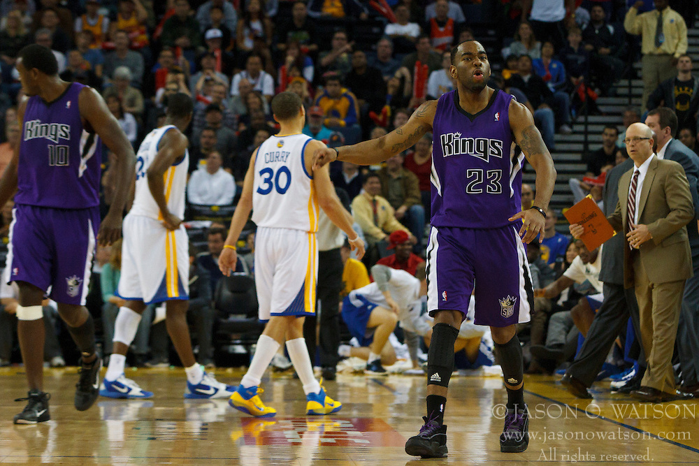 April 10, 2011; Oakland, CA, USA;  Sacramento Kings guard Marcus Thornton (23) celebrates after making a basket against the Golden State Warriors during the fourth quarter at Oracle Arena. Sacramento defeated Golden State 104-103.