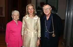Left to right, MARYANNE STEVENS, NICOLETTE KWOK and SIR NICHOLAS GRIMSHAW President of the RA  at an exhibition of art entitled 'Royal Academicians in China: 2003-2005' held at the Royal Academy of Arts, Burlington House, Piccadilly, London on 11th January 2005.<br /><br />NON EXCLUSIVE - WORLD RIGHTS
