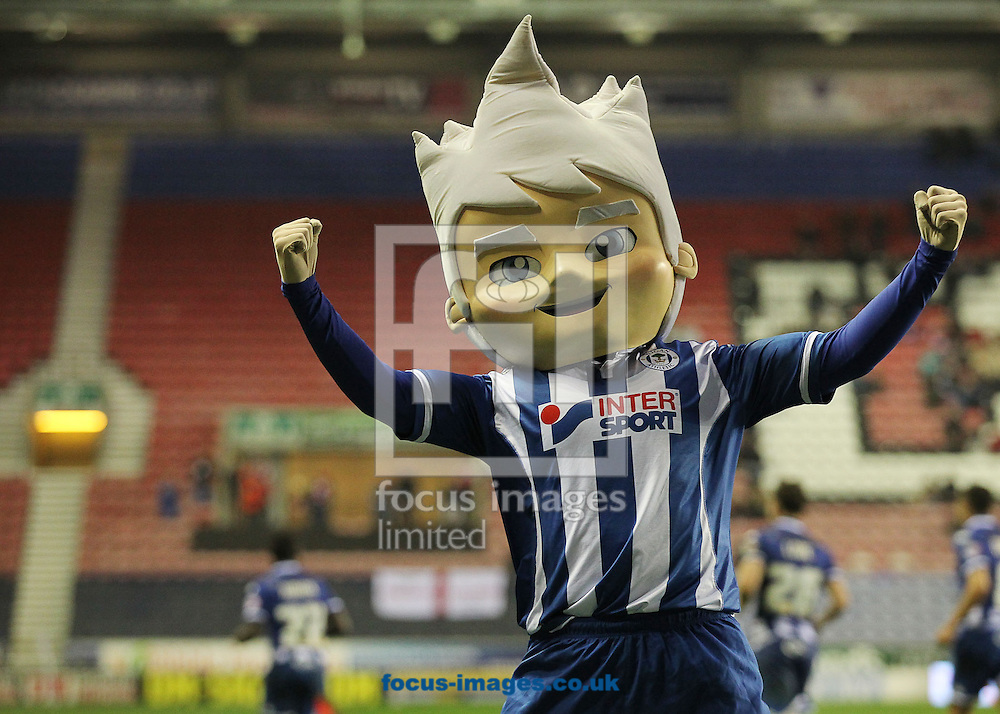 The club mascot celebrates after Francisco Junior of Wigan Athletic scores the winning goal against Swindon Town during the Sky Bet League 1 match at the DW Stadium, Wigan.<br /> Picture by Michael Sedgwick/Focus Images Ltd +44 7900 363072<br /> 31/10/2015