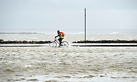 26/01/2016  Cyclist in the flooding in Salthill as  storm Jonas hits the West coast. Photo:Andrew Downes, XPOSURE .