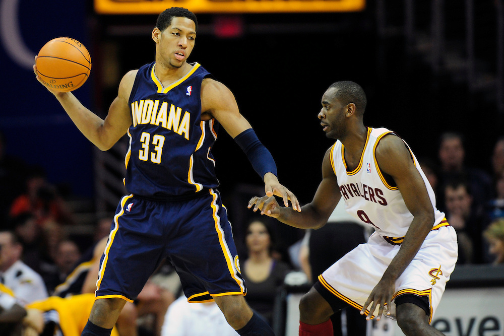 Feb. 2, 2011; Cleveland, OH, USA; Cleveland Cavaliers guard Christian Eyenga (8) puts pressure on Indiana Pacers small forward Danny Granger (33) during the second quarter at Quicken Loans Arena. Mandatory Credit: Jason Miller-US PRESSWIRE