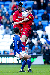 Kasey Palmer and Callum O'Dowda of Bristol City challenge for the ball above Marlon Pack of Cardiff City - Mandatory by-line: Robbie Stephenson/JMP - 10/11/2019 -  FOOTBALL - Cardiff City Stadium - Cardiff, Wales -  Cardiff City v Bristol City - Sky Bet Championship