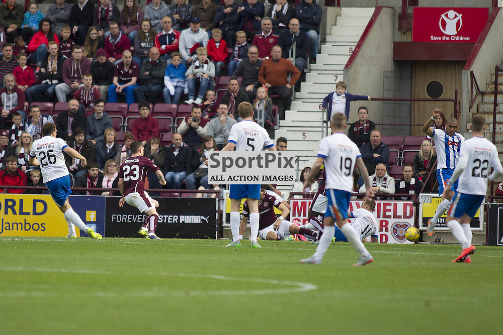 Conrad Balatoni of Kilmarnock (26) scores to make it 1-1 during the Ladbrokes Scottish Premiership match between Heart of Midlothian FC and Kilmarnock FC at Tynecastle Stadium on October 4, 2015 in Edinburgh, Scotland. Photo by Jonathan Faulds/SportPix