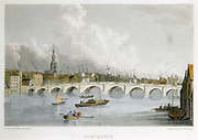 The Georgian stone bridge across the Tyne at Newcastle-upon-Tyne, England.   Opened in 1791, it was closed 1867 and replaced by Stephenson's High Level  bridge. Hand-coloured engraving after illustration by William Westall (1781-1850) published c1830.