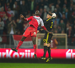UTRECHT, THE NETHERLANDS - Thursday, September 30, 2010: Liverpool's Martin Skrtel and FC Utrecht's Jacob Mulenga during the UEFA Europa League Group K match at the Stadion Galgenwaard. (Photo by David Rawcliffe/Propaganda)