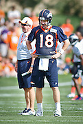 SHOT 7/25/13 9:34:50 AM - The Denver Broncos Peyton Manning #18 and head coach John Fox each flash a smile as the team runs through drills during opening day of training camp July 25, 2013 at Dove Valley in Englewood, Co.  (Photo by Marc Piscotty / © 2013)