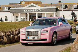 © Licensed to London News Pictures. 18/04/2013. Lands End, UK. Chris Evans, Garry Barlow, James May and Professor Brian Cox leave Lands End for John O'Groats in a pink Rolls Royce. The aim is to raise 1 Million pounds for Breast Cancer Care. Photo credit : Ashley Hugo/LNP