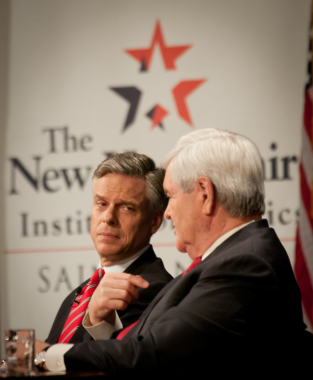 Former Speaker of the House Newt Gingrich, the new rising star and Former Utah Gov. Jon Huntsman Hold a Lincoln-Douglas style debate at St. Anselm Collge in Goffstown, NH.