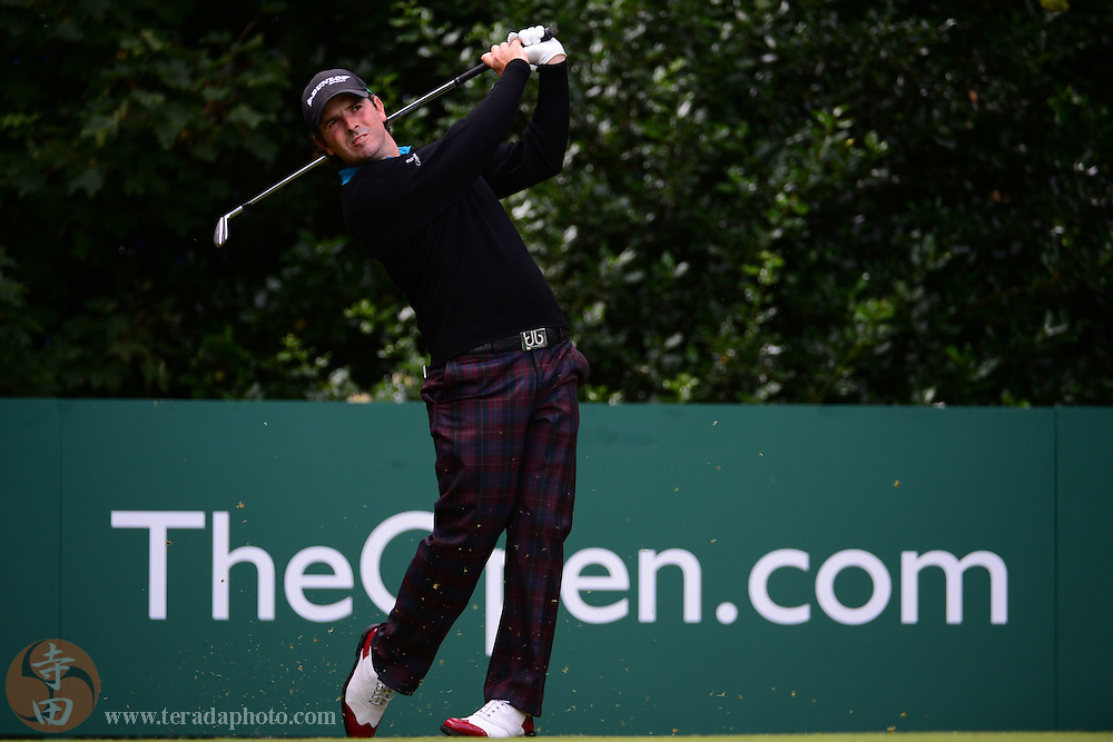 July 21, 2012; St. Annes, ENGLAND; Thomas Aiken tees off on the 1st hole during the third round of the 2012 British Open Championship at Royal Lytham & St. Annes Golf Club.