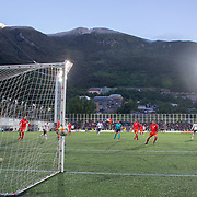 ANDORRA LA VELLA, ANDORRA. June 1.  Wissam Ben Yedder #22 of France scores his sides second goal as his shot beats goalkeeper Josep Gomes #1 of Andorra during the Andorra V France 2020 European Championship Qualifying, Group H match at the Estadi Nacional d'Andorra on June 11th 2019 in Andorra (Photo by Tim Clayton/Corbis via Getty Images)