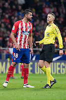 Atletico de Madrid Diego Costa talking with the referee during La Liga match between Atletico de Madrid and Valencia C.F. at Wanda Metropolitano in Madrid , Spain. February 04, 2018. (ALTERPHOTOS/Borja B.Hojas)