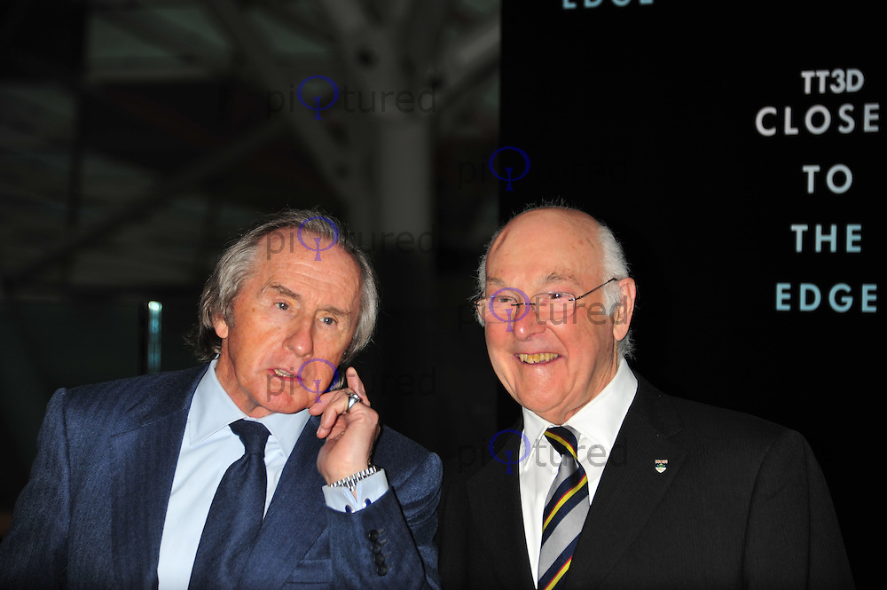 Jackie Stewart and Murray Walker TT3D Closer To The Edge UK film premiere, Vue Cinema, Westfield Shopping Centre, London, UK, 14 April 2011:  Contact: Rich@Piqtured.com +44(0)7941 079620 (Picture by Alan Roxborough)