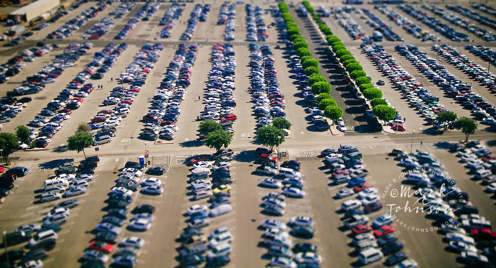 Selective focus aerial photograph of LAX parking lot, Los Angeles, S. California, USA