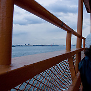 People aboard the Staten Island Ferry
