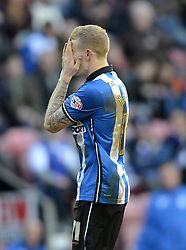 Wigan Athletic's James McClean reacts to a missed chance - Photo mandatory by-line: Richard Martin-Roberts/JMP - Mobile: 07966 386802 - 07/03/2015 - SPORT - Football - Wigan - DW Stadium - Wigan Athletic v Leeds United - Sky Bet Championship