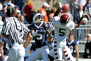 Sept 19, 2009; State College, PA, USA; Temple cornerback Jaiquawn Jarrett (5) breaks up a pass to Penn State wide receiver Graham Zug (5) during the first half at Beaver Stadium.  Mandatory Credit: Jason Miller-US PRESSWIRE