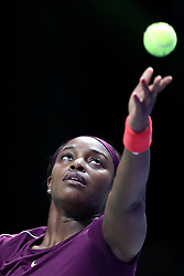 October 22, 2018 - Singapore, Singapore - Sloane Stephens of the United States serves during the match between Naomi Osaka and Sloane Stephens on day 2 of the WTA Finals at the Singapore Indoor Stadium. (Credit Image: © Paul Miller/ZUMA Wire)