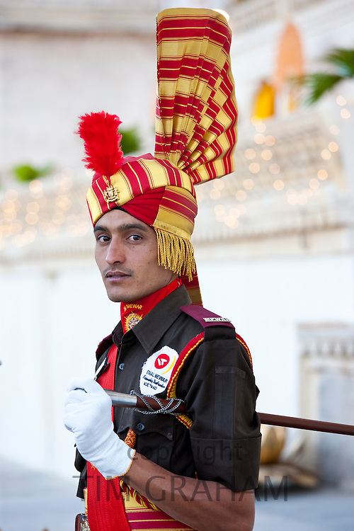 Ceremonial guard Jai Mewar of 76th Maharana of Mewar, His Highness, Shriji Arvind Singh Mewar of Udaipur, at the City Palace, Rajasthan, India