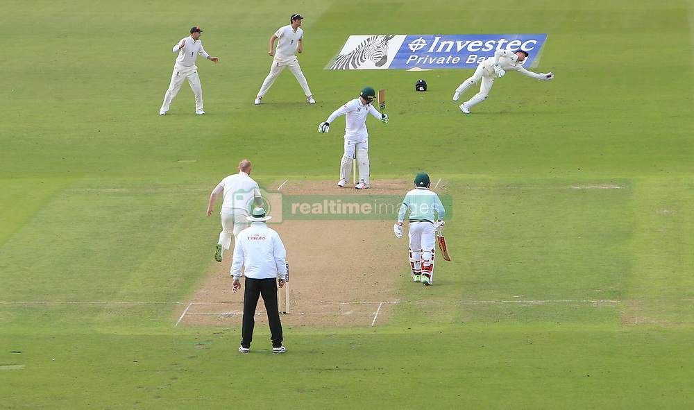 England's Jonny Bairstow (top right) catches out South Africa's Faf du Plessis off the bowling of the bowling of Ben Stokes during day one of the Second Investec Test match at Trent Bridge, Nottingham.