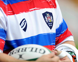 Bristol Rugby crest on the training shirt - Photo mandatory by-line: Dougie Allward/JMP - Mobile: 07966 386802 01/09/2014 - SPORT - FOOTBALL - Bristol - Ashton Gate - Bristol Rugby Open Training Session - Green King IPA Championship