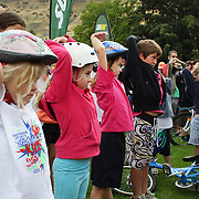 Youngsters stretch before the Subway kids Duathlon series for 6-14 year old. The series allows children to compete in a safe and supportive environment. Lake Hayes, Queenstown, New Zealand. 26th February 2012. Photo Tim Clayton