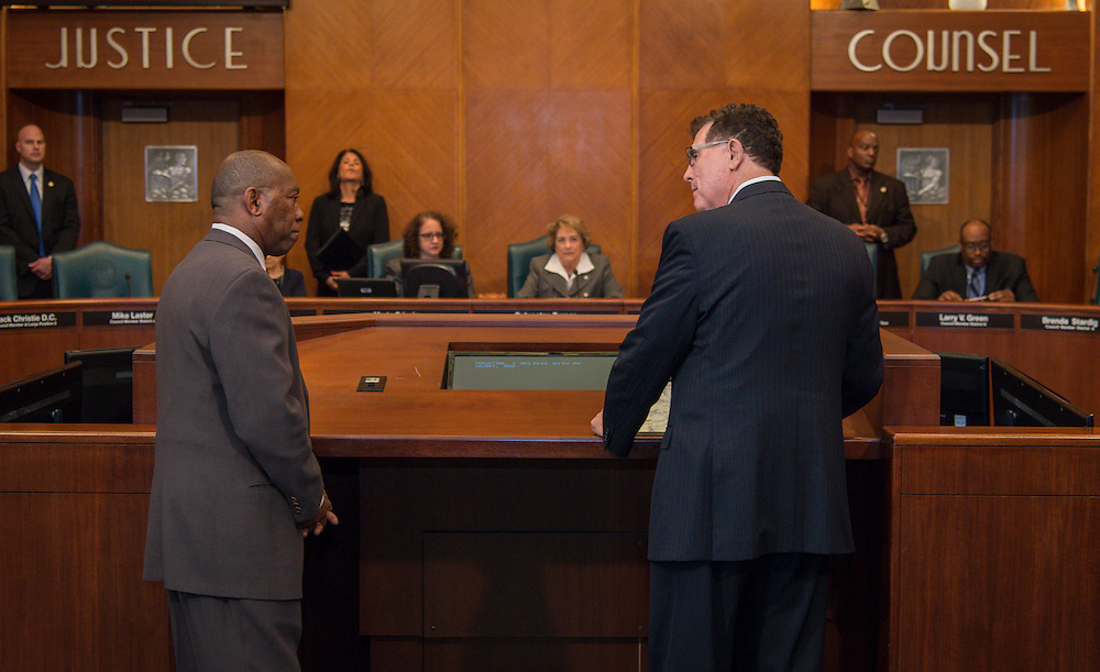 Houston ISD Superintendent Dr. Terry Grier is recognized with a proclamation by Houston City Mayor Sylvester Turner and Councilman Jack Christie at City Hall, January 12, 2016.