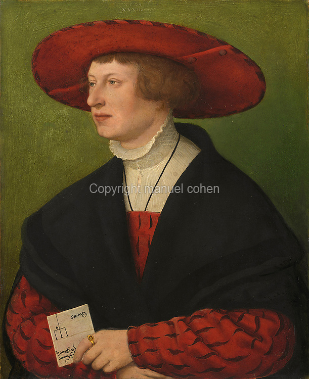 Portrait of Wolfgang Ronner, painting, 1529, oil on wood, by Hans Maler, 1480-1529, in the Alte Pinakothek, Munich, Germany. Ronner was a trade representative and holds a document in his hand. Picture by Manuel Cohen