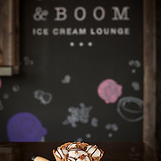 One of the favorite dishes at Crank & Boom Ice Cream Lounge is a bourbon ball sundae in a waffle bowl, pictured in Lexington, Ky., Sunday, December 13, 2015. Crank & Boom is located in the James Pepper Distillery District. (Photo by David Stephenson)