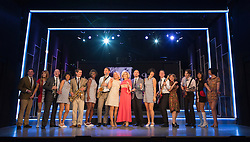 """© Licensed to London News Pictures. 01/09/2015. London, UK. Alison Arnopp as Dusty (centre) with cast. Photocall for the new British musical """"DUSTY"""", a world premiere. DUSTY, is about the rise to fame of 1960s superstar Dusty Springfield. The show is currently previewing in the West End at Charing Cross Theatre. Alison Arnopp stars as Dusty Springfield/Mary O'Brien. Photo credit : Bettina Strenske/LNP"""