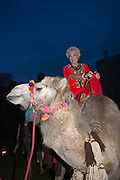 ROMA WATKINS  ( ALICE'S GRANDMOTHER ) ON CAMEL, Alice Manners 18th   birthday. Belvoir Castle, Grantham. 12 April 2013.