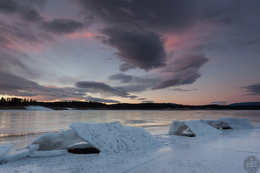 """Frozen Boca Reservoir Sunset 2"" - Photograph of a sunset and broken ice at frozen over Boca Reservoir, near Truckee, CA."