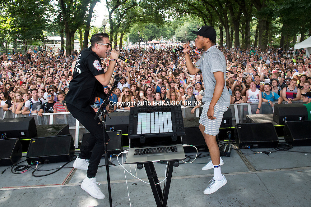 (L-R) Rappers G-Eazy and Pell perform at Lollapalooza on August 1, 2015, in Chicago, IL. (Erika Goldring Photo)