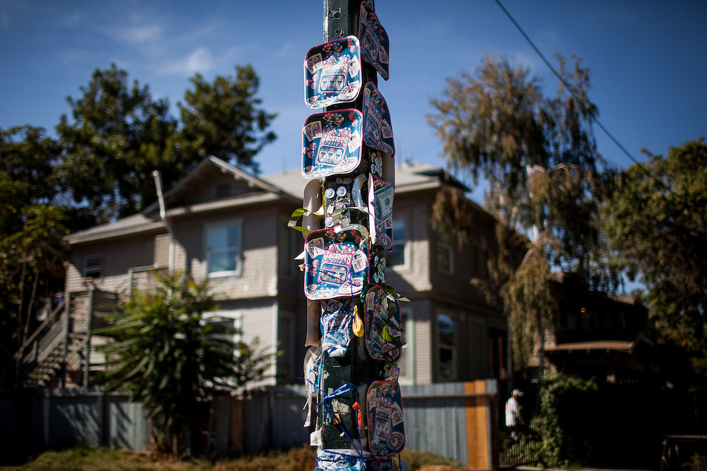 A memorial to a shooting victim on a Stockton, California street corner September 18, 2013 in Stockton, California.  Facing stark and rising homicide rates, the California cities Oakland and Stockton are taking a second chance at a novel method of disrupting street gangs, called Ceasefire, in which the police use social-analytics software to map out connections between a city's most violent gang members, using the data to make targeted and coordinated arrests.