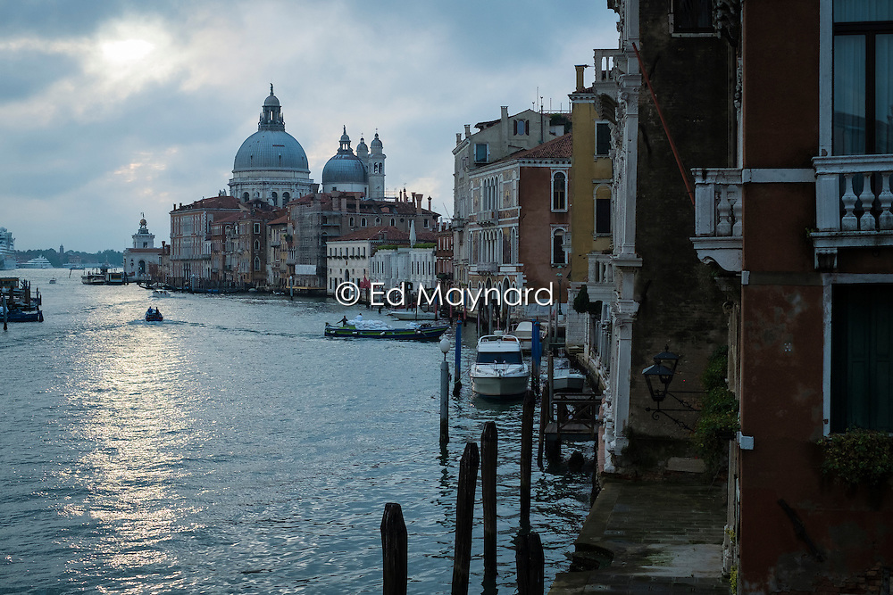 Early morning view of the Grand Canal and the Basilica di Santa Maria della Salute from the Ponte dell Accademia, Venice, Italy.<br />