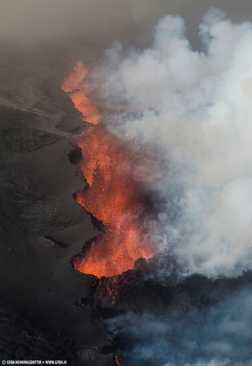 Volcanic eruption in Holuhraun, Iceland. Taken 1st of september 2014.