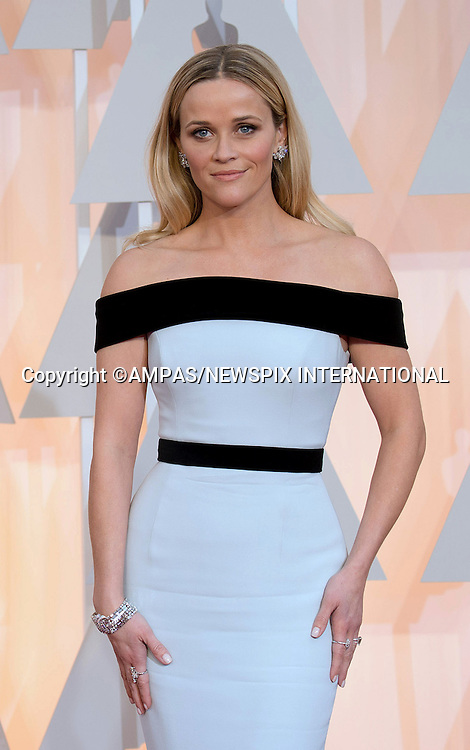 22.02.2015; Hollywood, California: 87TH OSCARS - REESE WITHERSPOON<br /> Celebrity arrivals at the Annual Academy Awards, Dolby Theatre, Hollywood.<br /> Mandatory Photo Credit: NEWSPIX INTERNATIONAL<br /> <br />               **ALL FEES PAYABLE TO: &quot;NEWSPIX INTERNATIONAL&quot;**<br /> <br /> PHOTO CREDIT MANDATORY!!: NEWSPIX INTERNATIONAL(Failure to credit will incur a surcharge of 100% of reproduction fees)<br /> <br /> IMMEDIATE CONFIRMATION OF USAGE REQUIRED:<br /> Newspix International, 31 Chinnery Hill, Bishop's Stortford, ENGLAND CM23 3PS<br /> Tel:+441279 324672  ; Fax: +441279656877<br /> Mobile:  0777568 1153<br /> e-mail: info@newspixinternational.co.uk