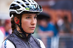 Clara Koppenburg (GER) looks up at the rain clouds at Emakumeen Bira 2018 - Stage 3, a 114.5 km road race starting and finishing in Aretxabaleta, Spain on May 21, 2018. Photo by Sean Robinson/Velofocus.com