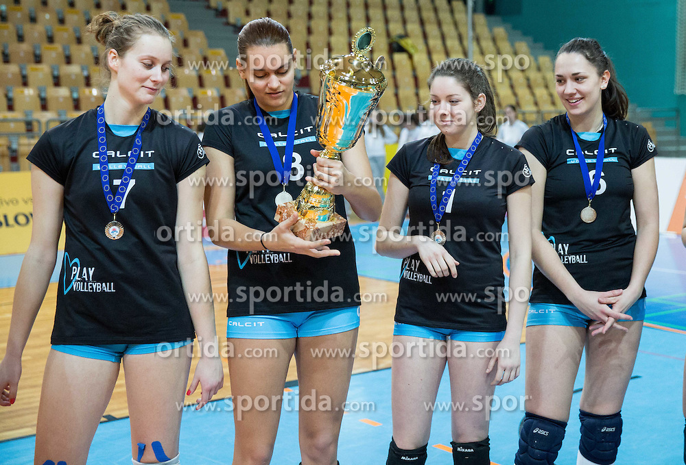 Players of OK Calcit Volley afar the final match of MEVZA League 2014/15 against Nova KBM Branik Maribor when they placed second, on February 20, 2015 in Dvorana Lukna, Maribor, Slovenia. Photo by Vid Ponikvar / Sportida
