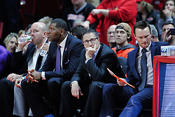NORMAL, IL - January 05: Matthew Graves, Walter McCarty, Todd Likliter, Logan Baumann during a college basketball game between the ISU Redbirds and the University of Evansville Purple Aces on January 05 2019 at Redbird Arena in Normal, IL. (Photo by Alan Look)