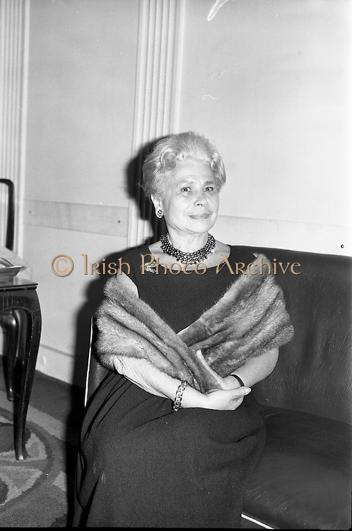26/09/1962<br /> 09/26/1962<br /> 26 September 1962<br /> 40th Anniversary Party for Maindenform Inc., at the Gresham Hotel, Dublin. Picture shows Mrs Ida Rosenthal, Chairman of the Board of Maidenform Incorporated.