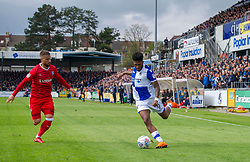 Ellis Harrison of Bristol Rovers in front of a large crowd at the Memorial Stadium - Mandatory by-line: Paul Knight/JMP - 28/04/2018 - FOOTBALL - Memorial Stadium - Bristol, England - Bristol Rovers v Gillingham - Sky Bet League One