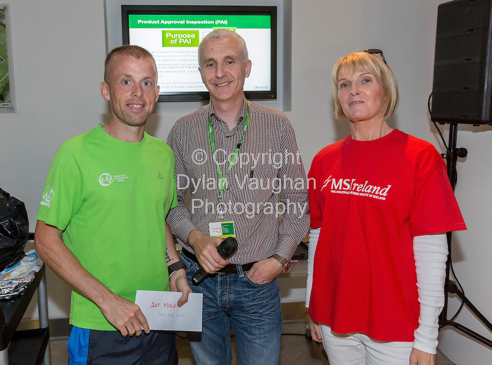 No Repro Fee<br /> <br /> <br /> 301/8/2013<br /> Mens race winner Philip Harty, Richard Bierney, Genzyme and Eileen Nolan, Multiple Sclerosis Society of Ireland pictured at the third annual Genzyme for MS Five Mile Road Race in Waterford on Friday (Aug 30). All proceeds from the race are going to the Waterford branch of the Multiple Sclerosis Society of Ireland. <br /> <br /> Picture Dylan Vaughan.