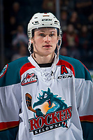 KELOWNA, CANADA - FEBRUARY 23:  Kaedan Korczak #6 of the Kelowna Rockets lines up against the Kamloops Blazers on February 23, 2019 at Prospera Place in Kelowna, British Columbia, Canada.  (Photo by Marissa Baecker/Shoot the Breeze)