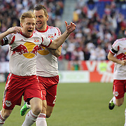 Dax McCarty, (left), New York Red Bulls, celebrates after scoring with team mate Jonny Steele during the New York Red Bulls V New England Revolution, Major League Soccer regular season match at Red Bull Arena, Harrison, New Jersey. USA. 20th April 2013. Photo Tim Clayton