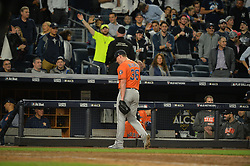 October 18, 2017 - Bronx, NY, USA - Houston Astros relief pitcher Will Harris (36) exits in the sixth inning against the New York Yankees in Game 5 of the American League Championship Series at Yankee Stadium in New York on Wednesday, Oct. 18, 2017. The Yankees won, 5-0, for a 3-2 series lead. (Credit Image: © Howard Simmons/TNS via ZUMA Wire)