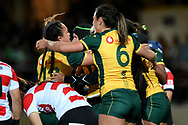 SYDNEY, AUSTRALIA - JULY 19: The Wallaroos celebrate the try of Grace Hamilton (8) during the second rugby test match between the Australian Wallaroos and Japan on July 19, 2019 at North Sydney Oval in Sydney, Australia. (Photo by Speed Media/Icon Sportswire)