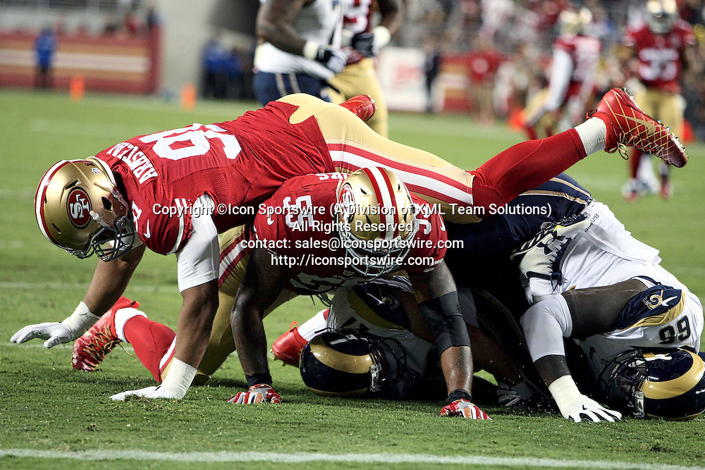 September 12 2016: Defensive Lineman Arik Amsted and Linebacker Ahmad Brooks of the San Francisco 49ers getting a sack of Rams quarterback Case Keenum during a 28-0 victory over the Los Angeles Rams at Levi's Stadium in Santa Clara, CA (Photo by Rob Holt/Icon Sportswire)