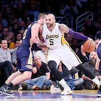 07 December 2014: Los Angeles Lakers forward Carlos Boozer (5) posts up New Orleans Pelicans forward Ryan Anderson (33) during the New Orleans Pelicans 104-87 victory over the Los Angeles Lakers, at the Staples Center, Los Angeles, California, USA.