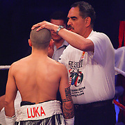 Liège - Belgium - January 11, 2014 : Abel Sanchez, trainer for Miskirtchian is seen here during the Featherweight IBF eliminator between Alex Miskirtchian (Belgium - white shorts) and Sofiane Takoucht (France - blue shorts). Miskirtchian wins by judges decision (117-111, 114-114, 115-113)